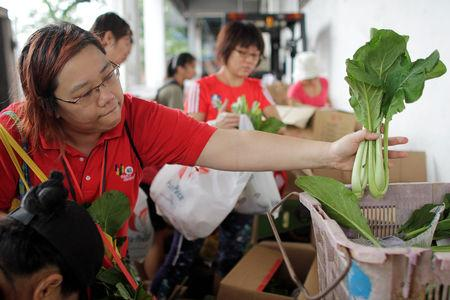 Freegan Ng Lin-Di chooses vegetables from rejected produce that suppliers gave them, during a food rescue mission at Pasir Panjang Wholesale Centre in Singapore November 15, 2018. Picture taken November 15, 2018. REUTERS/Natashia Lee