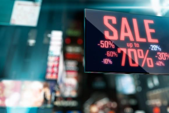 A sale sign showing varying percentage numbers.