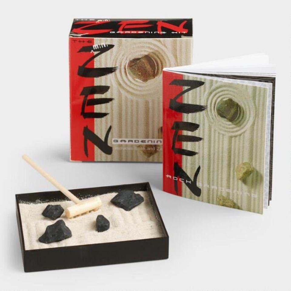 """$8; buy now at <a href=""""https://fave.co/2N1rYM8"""" target=""""_blank"""">World Market</a>  Want to relax at work without going full downward dog in your cubicle? With this miniature Zen garden, you can give yourself a few minutes of meditative time each day without bothering a soul."""