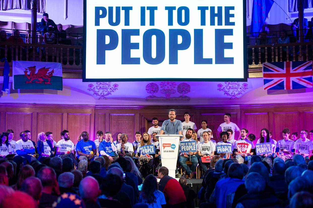 James O'Brien speaking at a People's Vote Rally in Assembly Hall, London.  Picture date: Tuesday April 9, 2019. Photo credit should read: Matt Crossick/Empics