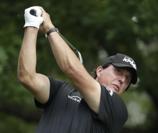 Phil Mickelson hits on the fourth tee during the third round for the Masters golf tournament Saturday, April 13, 2019, in Augusta, Ga. (AP Photo/Chris Carlson)