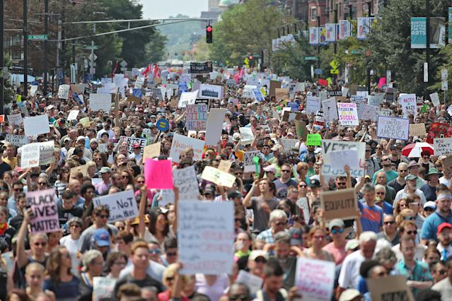 """<p>Counterprotesters march down Tremont Street to confront free speech demonstrators in the Boston Common during the """"Boston Free Speech"""" rally and counterprotest in Boston, Mass., Aug. 19, 2017. (Photo: Matthew J. Lee/The Boston Globe via Getty Images) </p>"""