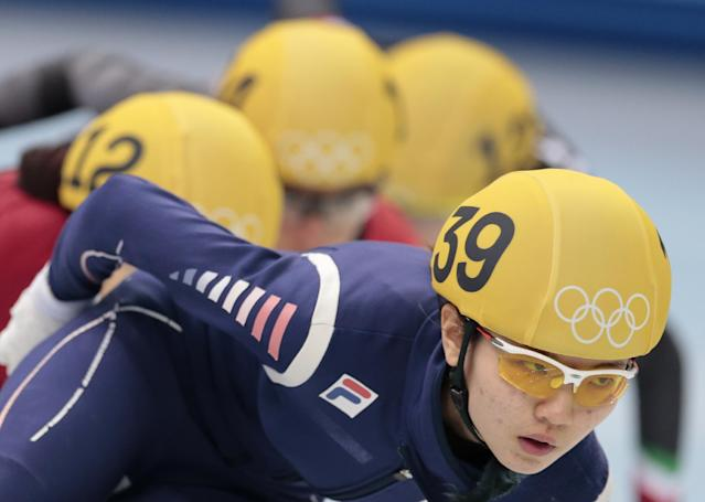 Shim Suk-Hee of South Korea competes in a women's 1000m short track speedskating heat at the Iceberg Skating Palace during the 2014 Winter Olympics, Tuesday, Feb. 18, 2014, in Sochi, Russia. (AP Photo/Ivan Sekretarev)