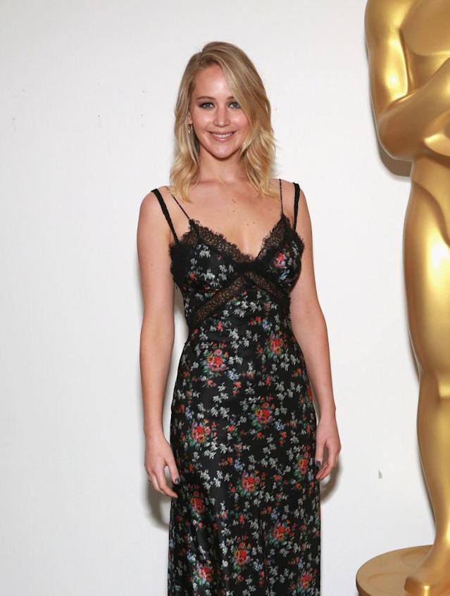 Jennifer Lawrence attends an official Academy screening of <em>mother!</em> wearing Brock Collection. (Photo: Getty Images)