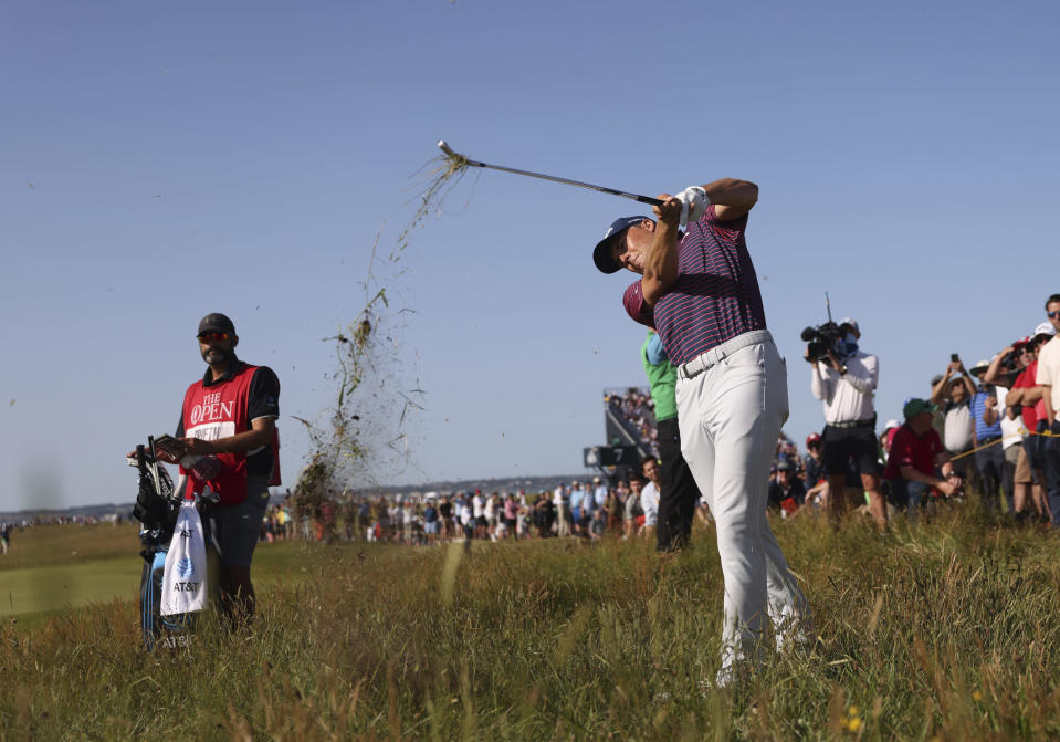 United States' Jordan Spieth plays out of the rough on the 8th fairway during the third round of the British Open Golf Championship at Royal St George's golf course Sandwich, England, Saturday, July 17, 2021. (AP Photo/Peter Morrison)