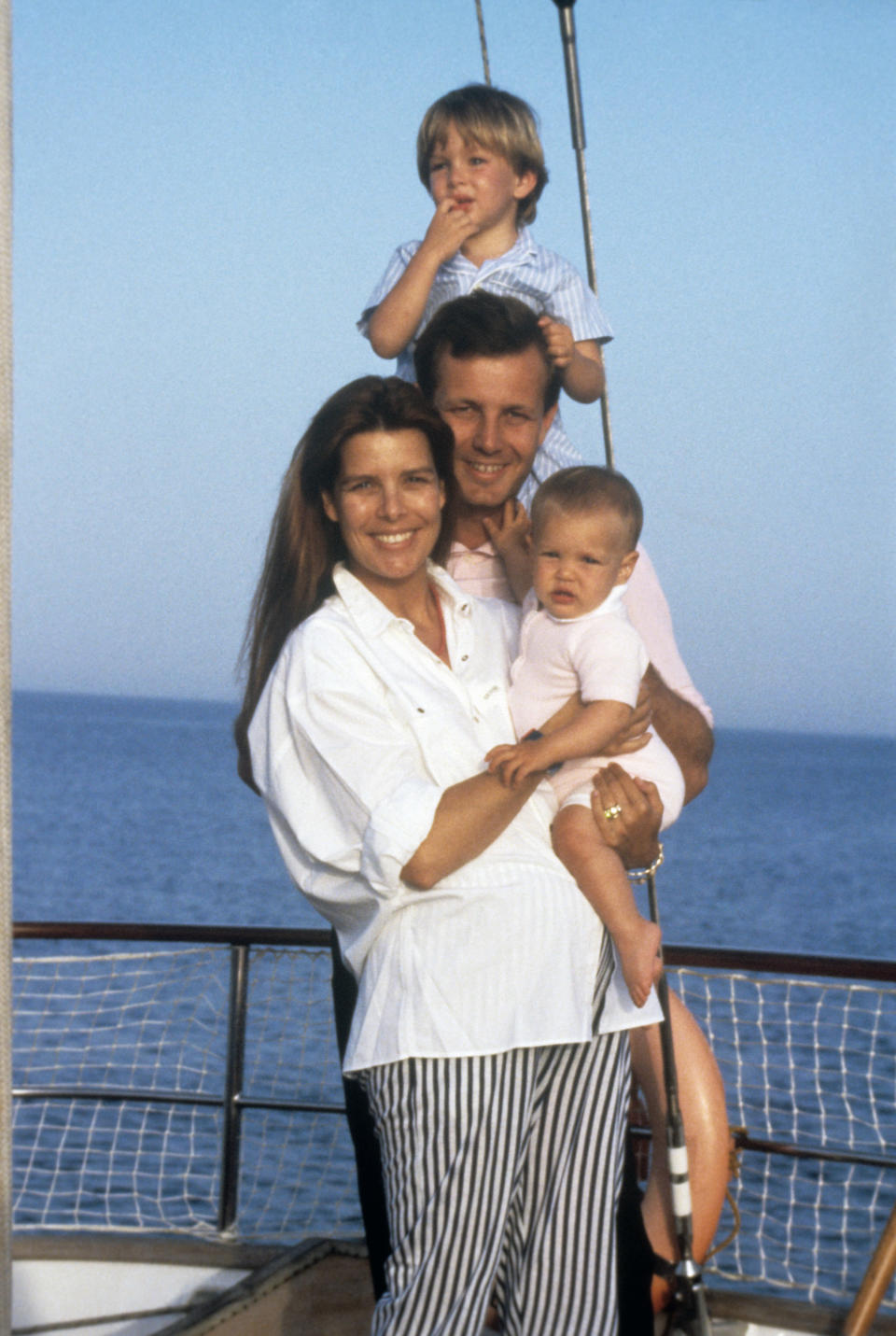UNDATED: Princess Caroline of Monaco in a boat together with her husband Stefano Casiraghi, and their two children Andrea and Charlotte. . (Photo by Mondadori via Getty Images)