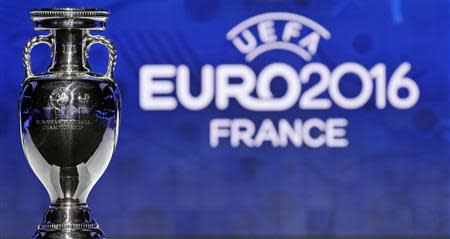 The trophy of the Euro 2016 is seen before the UEFA Euro 2016 qualifying draw in Nice, February 23, 2014. REUTERS/Jean-Paul Pelissier