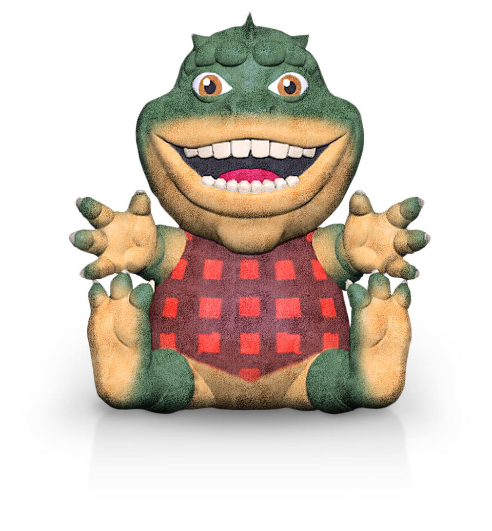 A Dinosaurs plush of Earl Sinclair in red plaid