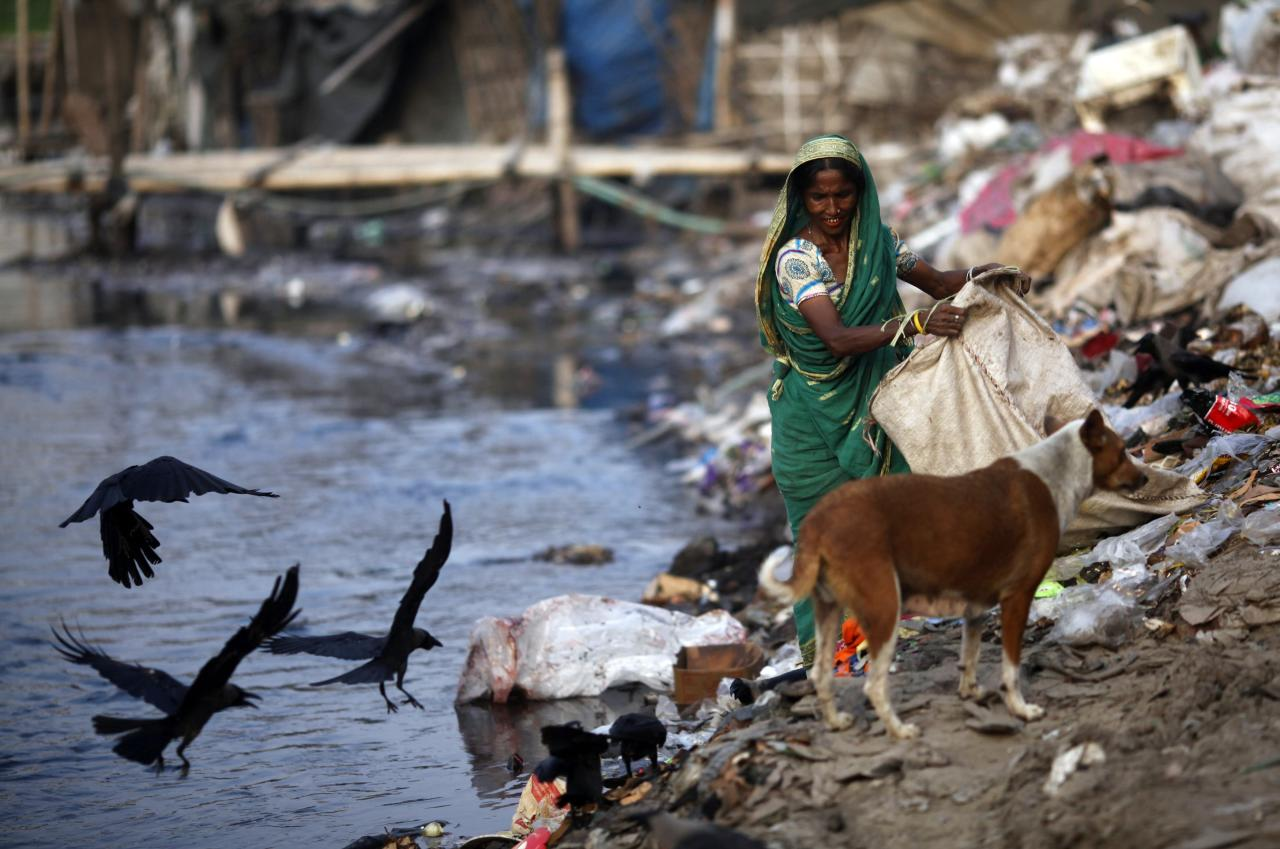 A woman collects garbages from a dump yard near a tannery at Hazaribagh along the polluted Buriganga river in Dhaka June 5, 2014. Bangladesh's Prime Minister Sheikh Hasina warned the tannery owners at Hazaribag of serious consequence if they failed to relocate their tanneries in Savar within the stipulated time, during a World Environment Day observance program, local media reported. According to the United Nations Environment Programme website, World Environment Day is celebrated annually on June 5 to raise global awareness and motivate action for environmental protection. REUTERS/Andrew Biraj (BANGLADESH - Tags: ENVIRONMENT)