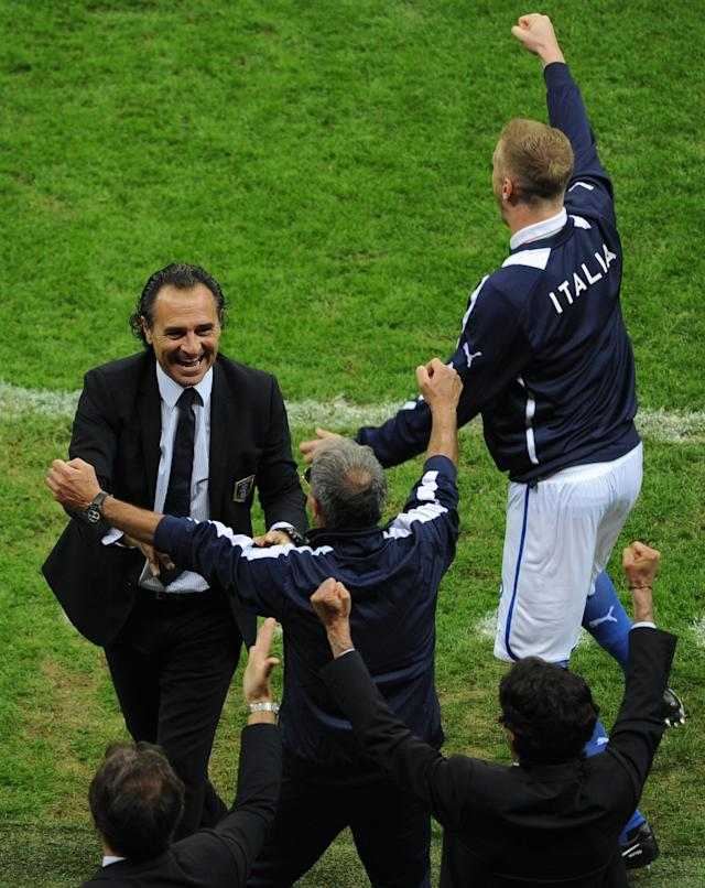 WARSAW, POLAND - JUNE 28: Head Coach Cesare Prandelli of Italy celebrates with his coaching staff during the UEFA EURO 2012 semi final match between Germany and Italy at National Stadium on June 28, 2012 in Warsaw, Poland. (Photo by Michael Regan/Getty Images)