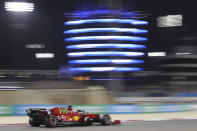 Ferrari driver Charles Leclerc of Monaco steers his car during the qualifying session for Sunday's Bahrain Formula One Grand Prix, at the Bahrain International Circuit in Sakhir, Bahrain, Saturday, March 27, 2021. The Bahrain Formula One Grand Prix will take place on Sunday. (AP Photo/Kamran Jebreili)
