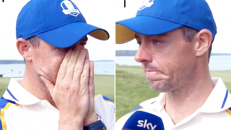 Rory McIlroy, pictured here in tears in heartbreaking scenes at the Ryder Cup.