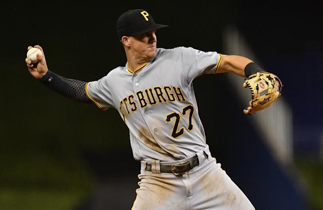 """<a class=""""link rapid-noclick-resp"""" href=""""/mlb/players/10564/"""" data-ylk=""""slk:Kevin Newman"""">Kevin Newman</a> has become a key member of the Pirates infield (Mark Brown/Getty Images)"""