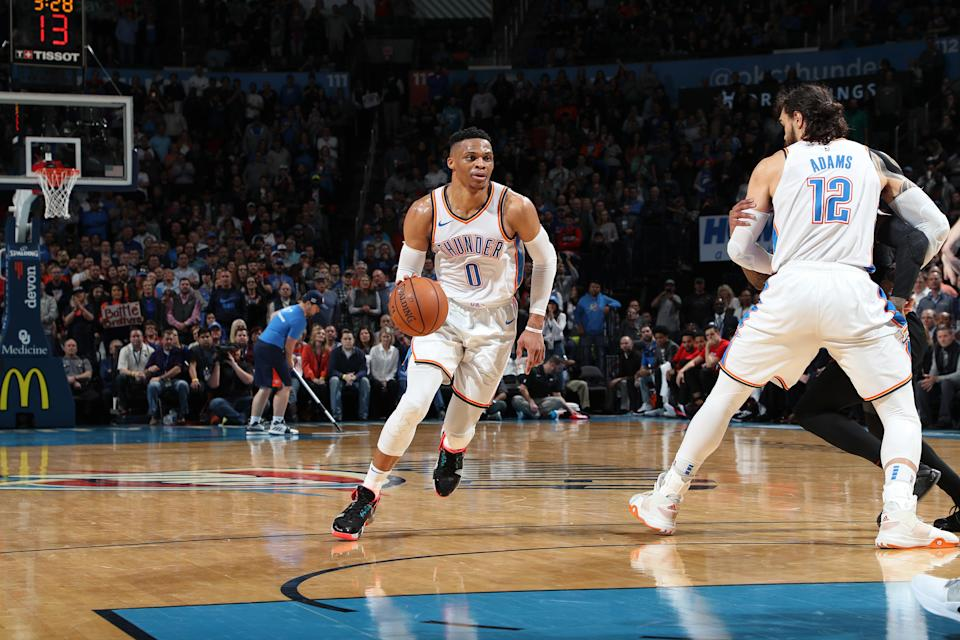 Russell Westbrook ranks third all-time in the NBA with 127 career triple-doubles. First is Oscar Robertson with 181. (Photo by Zach Beeker/NBAE via Getty Images)