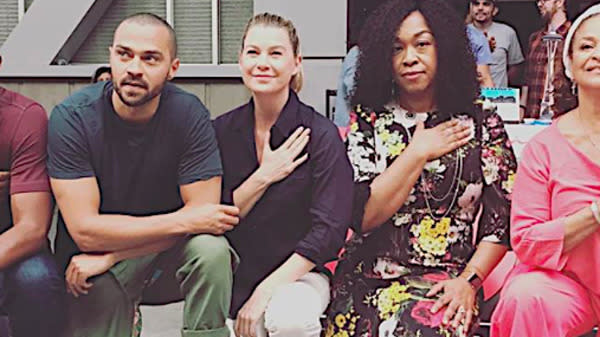 """The stars of """"Grey's Anatomy"""" have knelt to join the growing movement against racial injustice and President Donald Trump's attacks on free speech rights."""