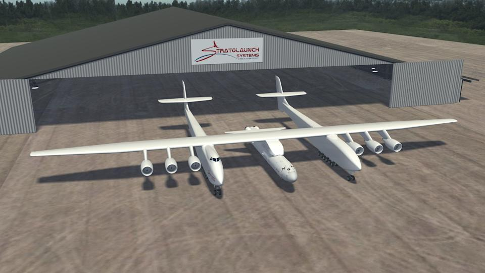 Artist's rendition of world's biggest plane provided by Stratolaunch Systems (Stratolaunch Systems/AFP via Get)