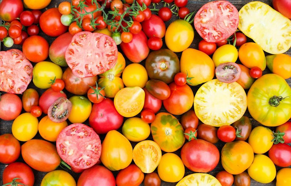 """<p>Tomatoes contain lycopene, which give the salad staple its red color. <a href=""""https://www.ncbi.nlm.nih.gov/pmc/articles/PMC5974099/"""" rel=""""nofollow noopener"""" target=""""_blank"""" data-ylk=""""slk:Research"""" class=""""link rapid-noclick-resp"""">Research</a> has shown that lycopene supports vascular health and helps prevent cardiovascular disease. </p><p><strong>RELATED: </strong><a href=""""https://www.goodhousekeeping.com/food-recipes/g1614/tomato-recipes/"""" rel=""""nofollow noopener"""" target=""""_blank"""" data-ylk=""""slk:20+ Best Tomato Recipes to Try ASAP"""" class=""""link rapid-noclick-resp"""">20+ Best Tomato Recipes to Try ASAP</a></p>"""