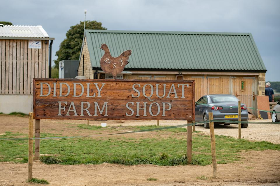 GV of Diddly Squat Farm Shop, after the protestors had left and graffiti removed, Chipping Norton, Oxfordshire, September 28 2021.  See SWNS story SWSYclarkson. Jeremy Clarkson's Farm has been