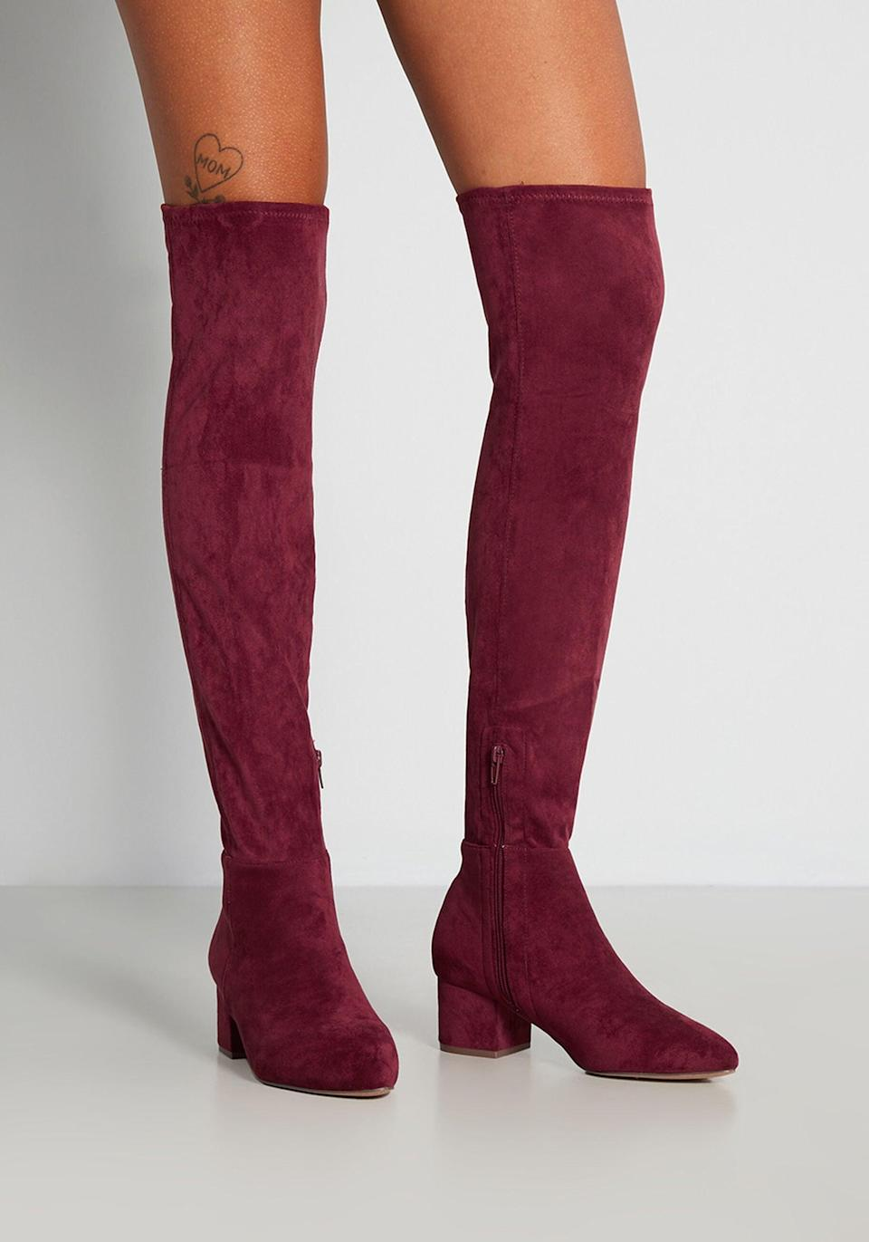 <p><span>Modcloth Burgundy Heights Over-The-Knee Boot</span> ($70)</p>