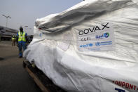 This photograph released by UNICEF on Wednesday Feb. 24, 2021 shows the first shipment of COVID-19 vaccines distributed by the COVAX Facility arriving at the Kotoka International Airport in Accra, Ghana. Ghana has become the first country in the world to receive vaccines acquired through the United Nations-backed COVAX initiative with a delivery of 600,000 doses of the AstraZeneca vaccine made by the Serum Institute of India. (Francis Kokoroko/UNICEF via AP)