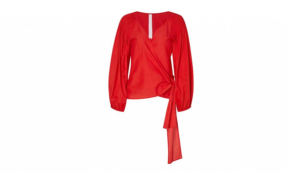 "<p>Sant Josep Blouse, $280, <a href=""https://merlettenyc.com/collections/frontpage/products/sant-josep-blouse?variant=24299311750"" rel=""nofollow noopener"" target=""_blank"" data-ylk=""slk:merlettenyc.com"" class=""link rapid-noclick-resp"">merlettenyc.com</a> </p>"