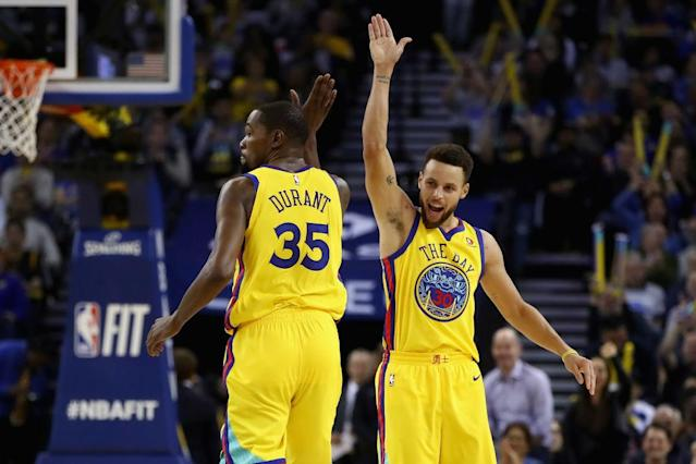 With Kevin Durant and Stephen Curry, the Warriors return the NBA's premier 1-2 punch to the sport's biggest stage. (Getty)