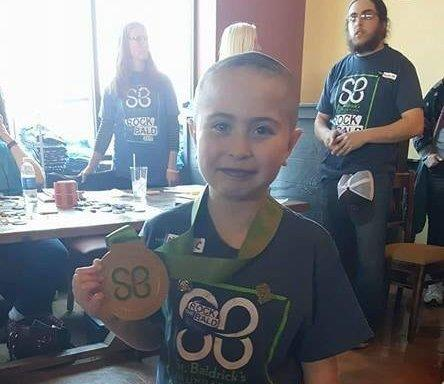 Cady has donated her hair to Locks of Love in the past. This year, she also shaved her head to raise money for childhood cancer research through the St. Baldrick's Foundation.