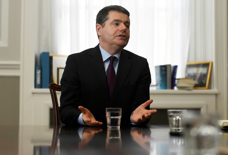 FILE PHOTO: Ireland's Minister for Finance Paschal Donohoe speaks during an interview with Reuters at the Ministry of Finance in Dublin