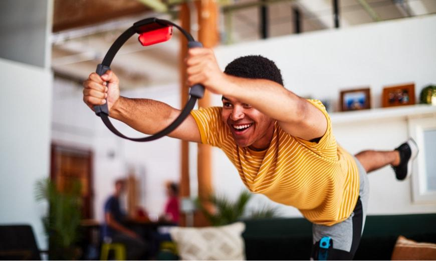 Nintendo's 'Ring Fit Adventure' includes a slew of workouts that will have you sweating and burning calories, without having to head to the gym. (Image: Nintendo)