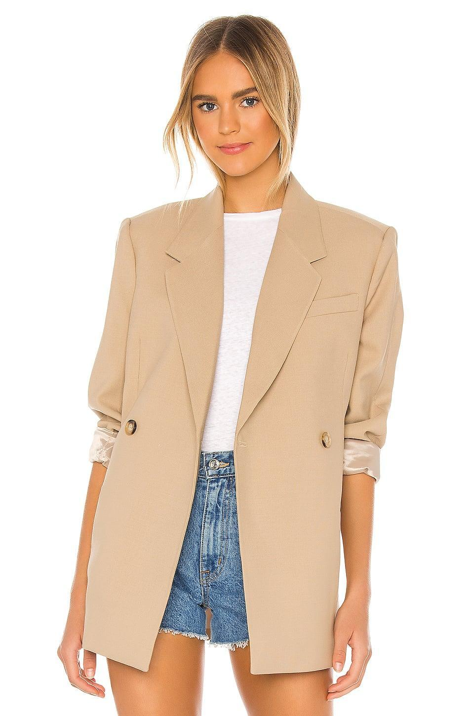 <p>This crisp, neutral <span>Anine Bing Kaia Blazer</span> ($349) is a classic.</p>