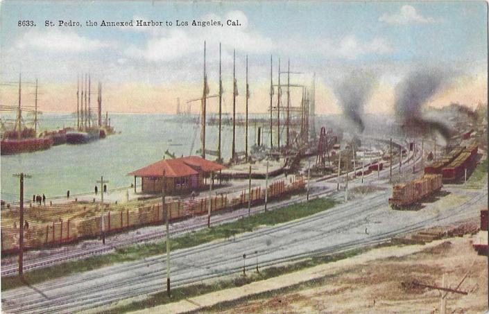 A vintage postcard shows an industrial scene of San Pedro and the harbor