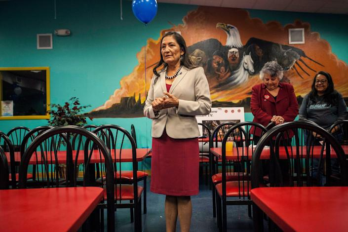 New Mexico Congresswoman Deb Haaland, who in 2018 became the first of two Native American women to join the congressional ranks, along with Kansas Democrat Sharice Davids, is shown here speaking to supporters during her visit to the Albuquerque Indian Center in Albuquerque, New Mexico, in 2018.