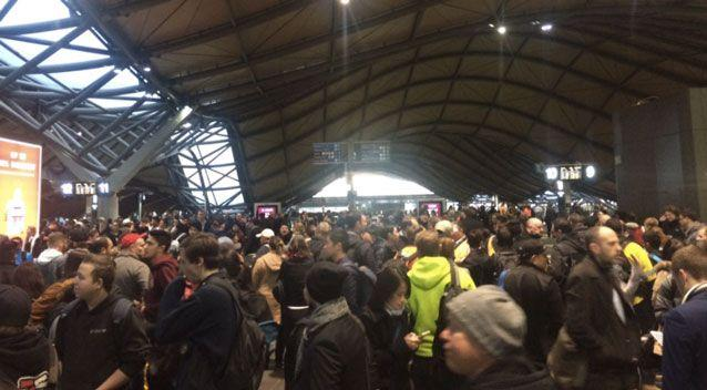 Melbourne trains were suspended for more then two hours on Thursday at peak hour. Photo: Twitter