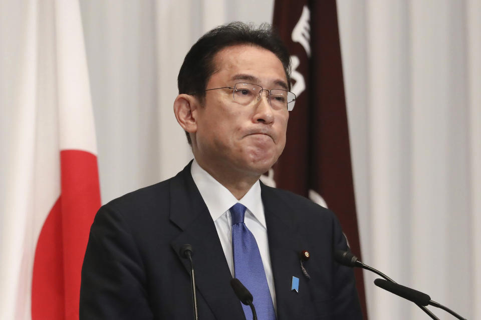 Japan's former Foreign Minister Fumio Kishida attends a press conference at the headquarters of the Liberal Democratic Party after he was elected as party president in Tokyo Wednesday, Sept. 29, 2021. Kishida won the governing party leadership election on Wednesday and is set to become the next prime minister, facing the imminent task of addressing a pandemic-hit economy and ensuring a strong alliance with Washington to counter growing regional security risks. (Du Xiaoyi/Pool Photo via AP)