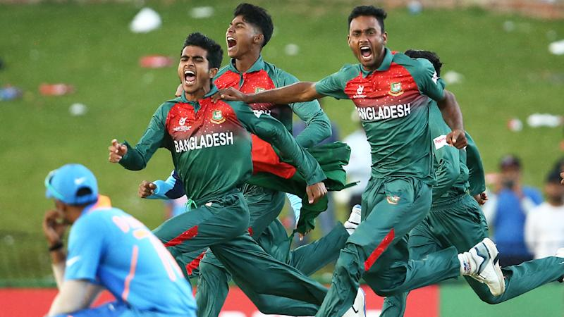 Three Bangladesh players and two Indian players have been disciplined by the ICC, following an ugly shoving match after the U19 Cricket World Cup. (Photo by Jan Kruger-ICC/ICC via Getty Images)