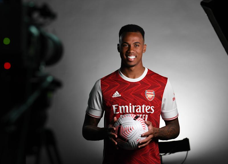 ST ALBANS, ENGLAND - SEPTEMBER 09: Gabriel Magalhaes of Arsenal during the Arsenal Media Photocall at London Colney on September 09, 2020 in St Albans, England. (Photo by David Price/Arsenal FC via Getty Images)
