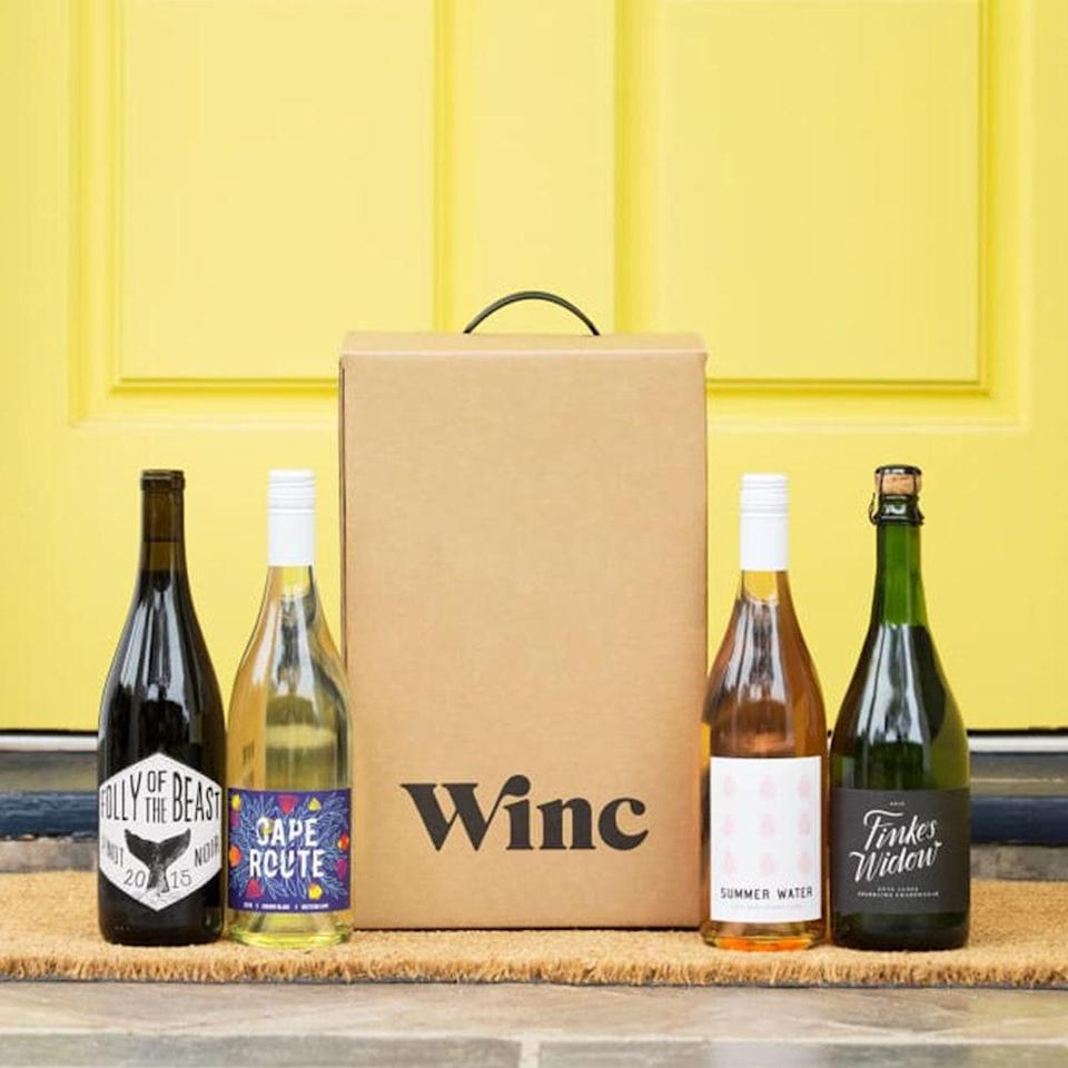 """<p>On the other end of the beverage spectrum, senior commerce writer Sarah Han is a big fan of Winc, a <a href=""""https://www.allure.com/gallery/best-subscription-box?mbid=synd_yahoo_rss"""" rel=""""nofollow noopener"""" target=""""_blank"""" data-ylk=""""slk:subscription service"""" class=""""link rapid-noclick-resp"""">subscription service</a> that makes it easy to buy wine without leaving your couch. """"I almost exclusively stock up on $4 wines from Trader Joe's (I'm cheap, OK?), but after staying at home became the new normal, I realized having delicious, curated wine delivered straight to my door was exactly what I needed,"""" she says. </p> <p>Winc wines are either produced at a Winc-owned winery in California or from their independent winemaking partners around the world. Winc curates your monthly wines based off of a quiz you take to determine your taste profile. If you don't like a particular wine that's been chosen, you can read reviews for other wines and swap it out for one that better suits your mood. You'll be so ready for your next Zoom happy hour (or solo dance party). </p> <p><strong>Starting at $13 per bottle</strong> (<a href=""""https://winc.mivh.net/c/1324868/578512/9573?u=https%3A%2F%2Fwww.winc.com%2F&subid1=BestQuarantinePurchasesByAllureEditors"""" rel=""""nofollow noopener"""" target=""""_blank"""" data-ylk=""""slk:Shop Now"""" class=""""link rapid-noclick-resp"""">Shop Now</a>)</p>"""