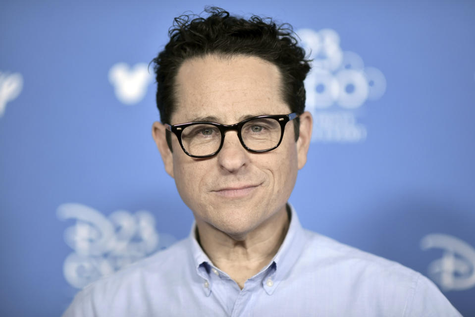 """J.J. Abrams attends the """"Go Behind the Scenes with the Walt Disney Studios,"""" press line at the 2019 D23 Expo, Saturday, Aug. 24, 2019, in Anaheim, Calif. (Photo by Richard Shotwell/Invision/AP)"""
