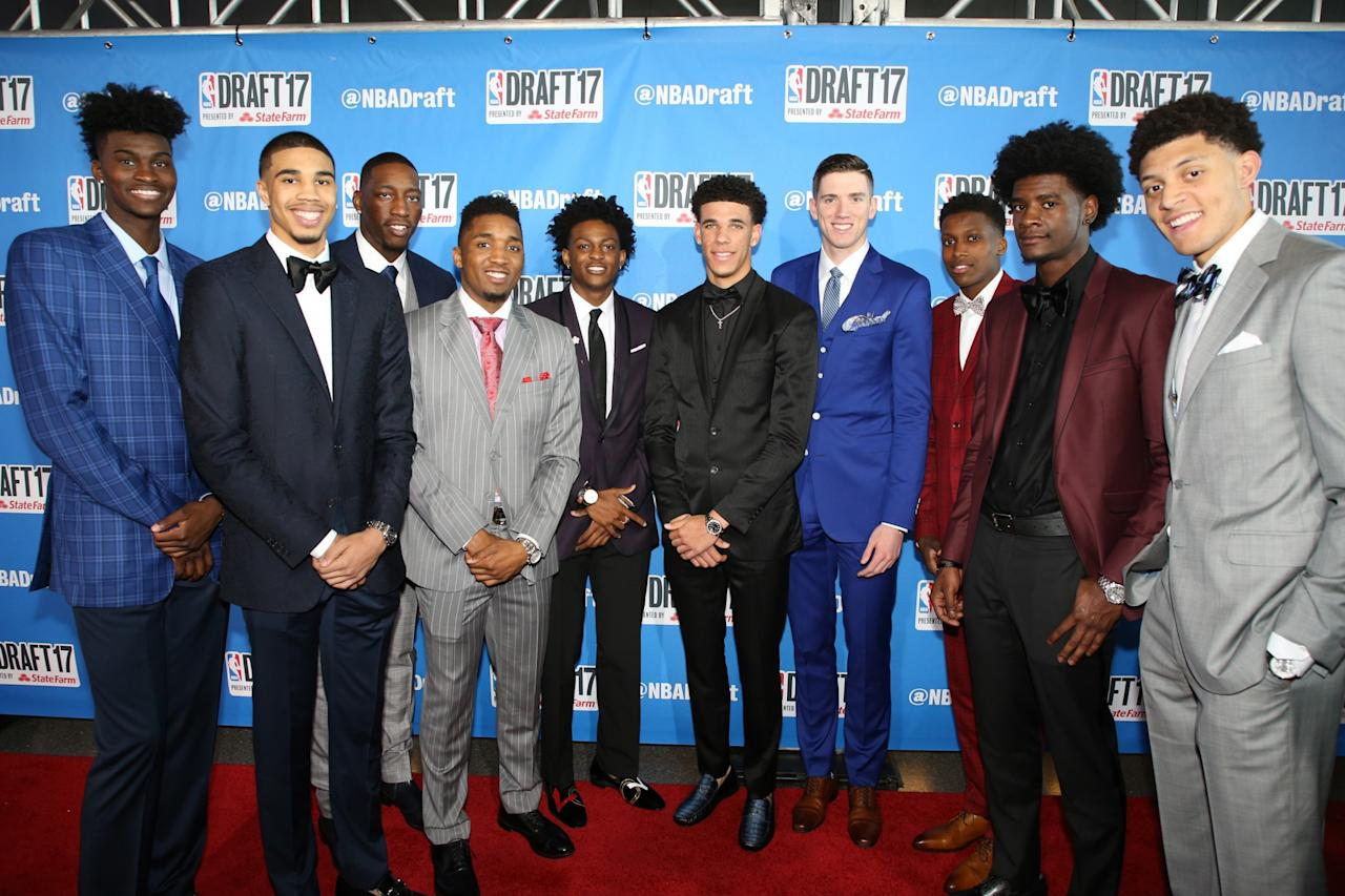 <p>NBA Draft prospects on the red carpet prior to the 2017 NBA Draft on June 22, 2017 at Barclays Center in Brooklyn, New York. </p>