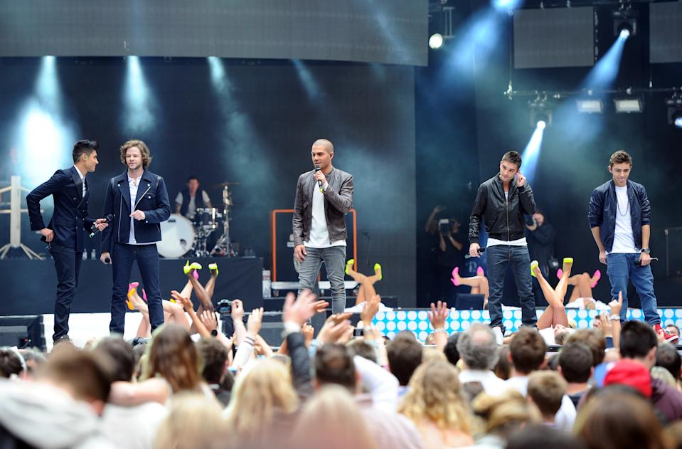 Max George, Nathan Sykes, Tom Parker, Jay McGuiness, and Siva Kaneswaran of the Wanted on stage during Capital FM's Summertime Ball at Wembley Stadium, London.