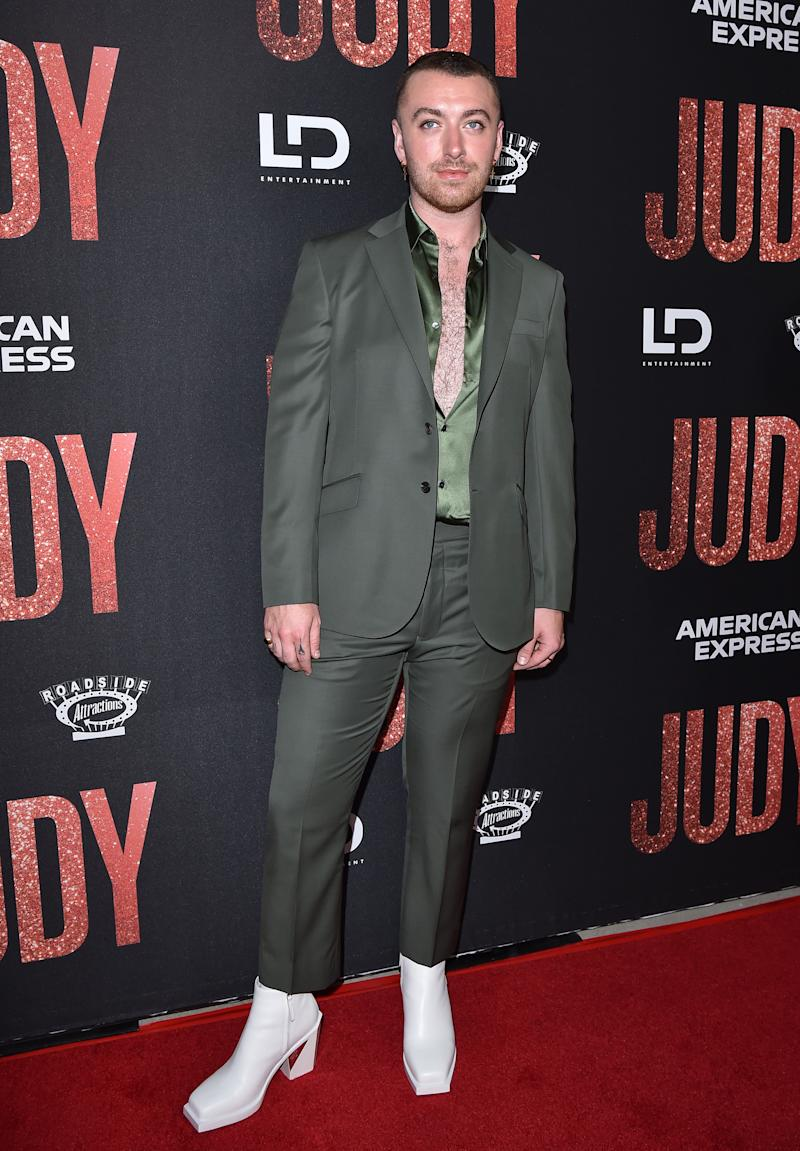 "BEVERLY HILLS, CALIFORNIA - SEPTEMBER 19: Sam Smith attends the LA Premiere of Roadside Attraction's ""Judy"" at Samuel Goldwyn Theater on September 19, 2019 in Beverly Hills, California. (Photo by Axelle/Bauer-Griffin/FilmMagic)"