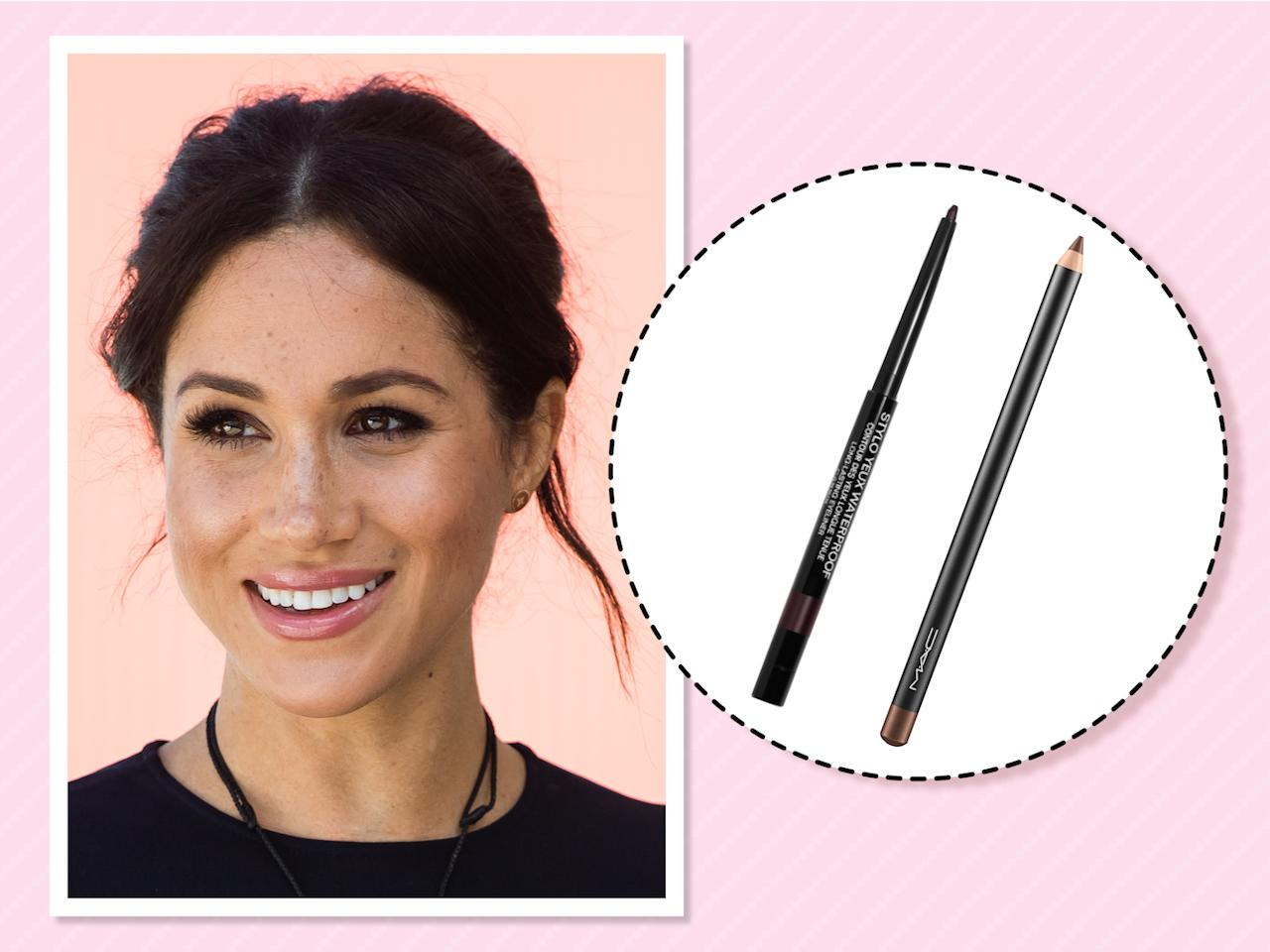 "<p>To define her brown eyes and lush lashes, Markle relies on two eyeliners. For a ""touch of shimmer,"" <a rel=""nofollow"" href=""https://beautybanter.com/banter-babe-meghan-markle"">she told Beauty Banter</a>, ""I use Chanel Cassis Eyeliner on my upper lash line and water line."" For a more smoky look, she <a rel=""nofollow"" href=""https://www.allure.com/story/meghan-markle-suits-beauty-tips?verso=true"">told <em>Allure</em></a>, ""If I'm going to amp it up for night, then I use MAC Teddy eyeliner, which is a really beautiful brown that has some gold in it."" (Photo: Getty Images)<br /><strong><a rel=""nofollow"" href=""https://www.macys.com/shop/product/chanel-stylo-yeux-waterproof-long-lasting-eyeliner-0.01-oz.?ID=232469&CategoryID=30077&swatchColor=83%20Cassis#fn=sp%3D1%26spc%3D10%26ruleId%3D78%26kws%3Dchanel%20cassis%20eyeliner%26searchPass%3DpartialMatch%26slotId%3D1"">Shop it</a>:</strong> $33, <a rel=""nofollow"" href=""https://www.macys.com/shop/product/chanel-stylo-yeux-waterproof-long-lasting-eyeliner-0.01-oz.?ID=232469&CategoryID=30077&swatchColor=83%20Cassis#fn=sp%3D1%26spc%3D10%26ruleId%3D78%26kws%3Dchanel%20cassis%20eyeliner%26searchPass%3DpartialMatch%26slotId%3D1"">macys.com</a><br /><strong><a rel=""nofollow"" href=""https://fave.co/2zQ2WHg"">Shop it</a>:</strong> $18, <a rel=""nofollow"" href=""https://fave.co/2zQ2WHg"">ulta.com</a> </p>"
