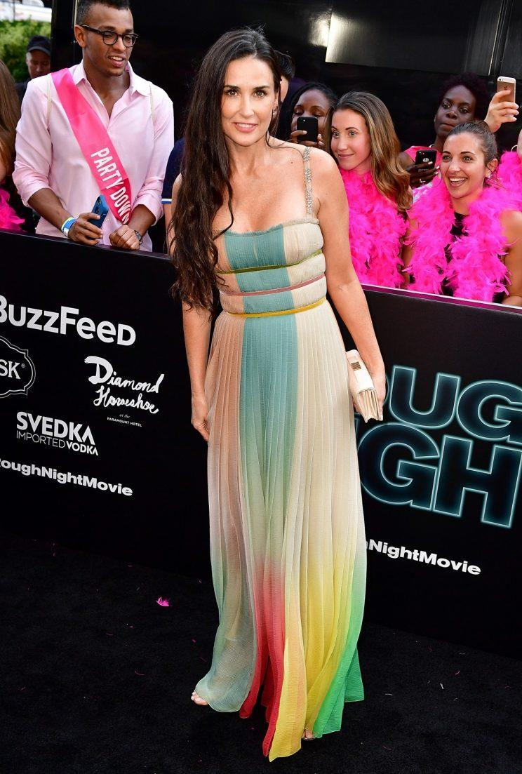 Moore wore a rainbow colored chiffon gown from Christian Dior. (Photo: Getty Images)