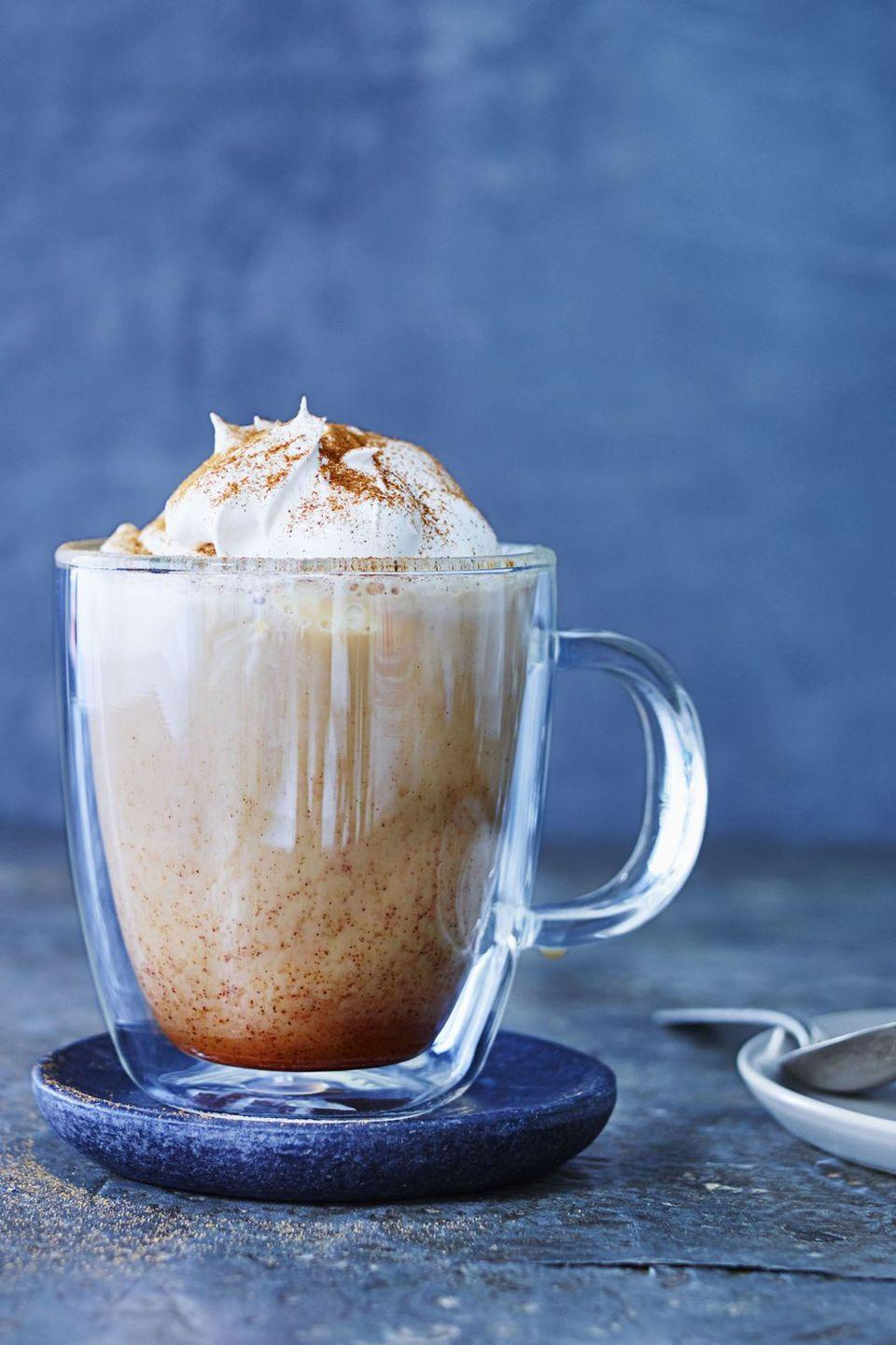 "<p>If you always say ""yes"" to a post-dinner coffee, consider swapping out your traditional cappuccino for a seasonal favorite.</p><p><em><a href=""https://www.goodhousekeeping.com/food-recipes/cooking/tips/a24776/pumpkin-spice-latte-copycat-recipe/"" rel=""nofollow noopener"" target=""_blank"" data-ylk=""slk:Get the recipe for Pumpkin Spice Latte »"" class=""link rapid-noclick-resp"">Get the recipe for Pumpkin Spice Latte »</a></em> </p>"