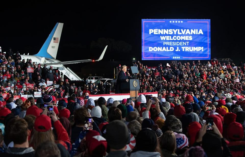 US President Donald Trump at a Make America Great Again rally at Erie International Airport in Erie, Pennsylvania.