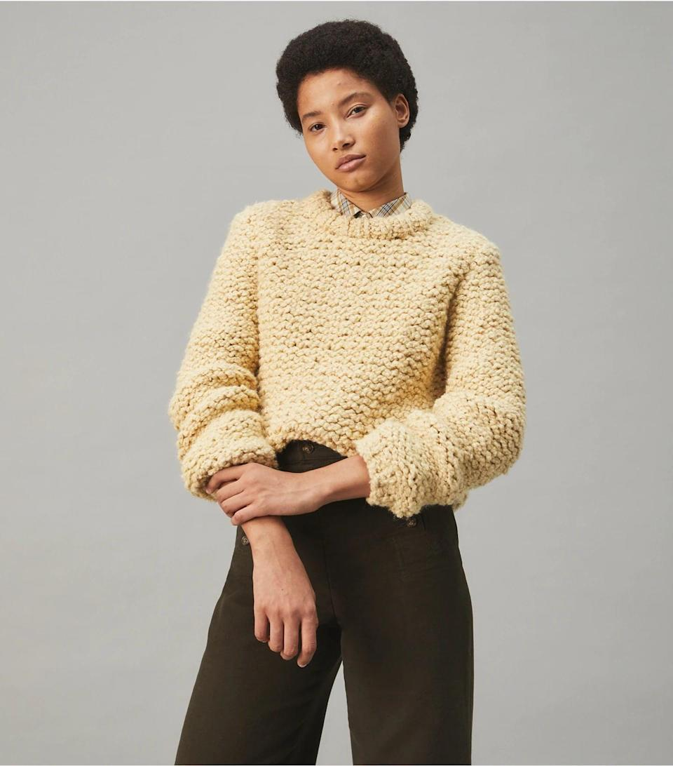 """<p>""""This cozy <span>Tory Burch Hand-Knit Bouclé Sweater</span> ($798) has a soft feeling to the touch akin to a warm hug. It is easy to dress up (with a leather miniskirt and some heels) or down (with jeans and sneakers), so you'll get lots of wear out of it. I also appreciate that it's hand knit, making it a special piece that I'll wear for a long time."""" - Shelcy Joseph, assistant editor, Commerce</p>"""