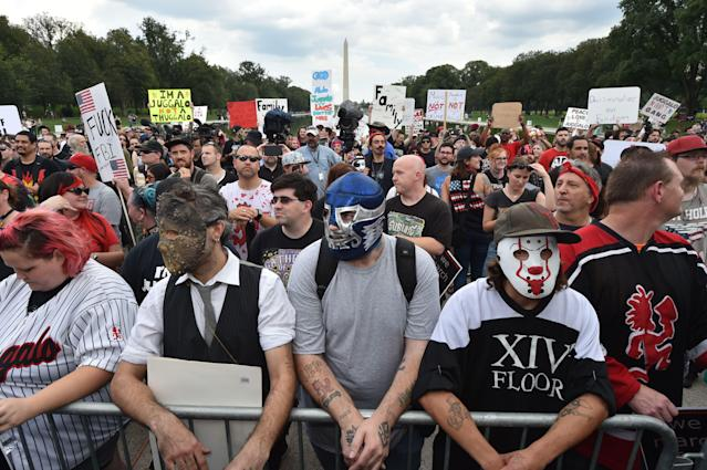 <p>Fans of the US rap group Insane Clown Posse, known as Juggalos, assemble on Sept. 16, 2017 near the Lincoln Memorial in Washington to protest at a 2011 FBI decision to classify their movement as a gang. (Photo: Paul J. Richards/AFP/Getty Images) </p>