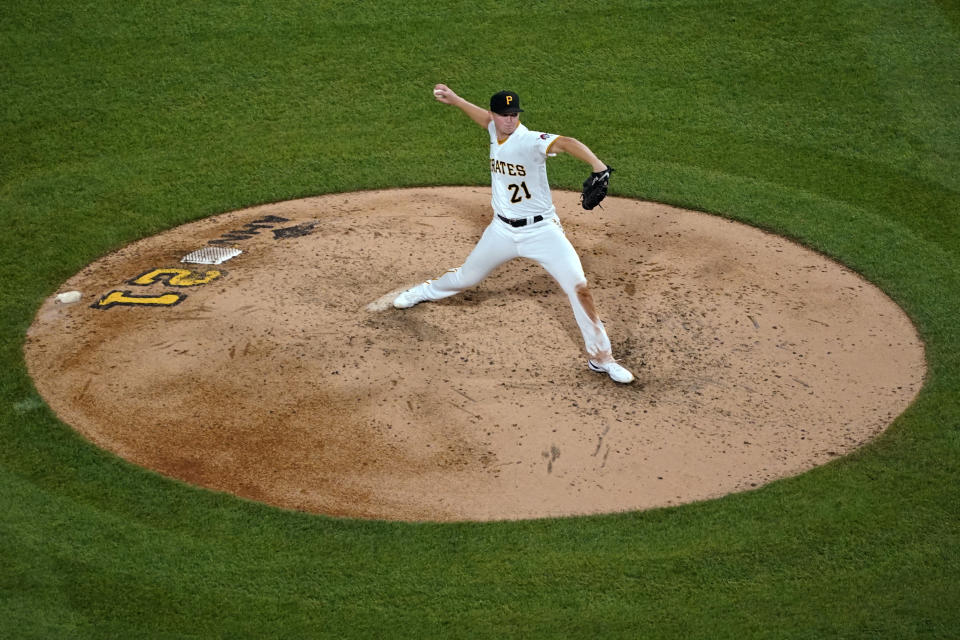 Pittsburgh Pirates starting pitcher Mitch Keller delivers during the fifth inning of the team's baseball game against the Cincinnati Reds in Pittsburgh, Wednesday, Sept. 15, 2021. (AP Photo/Gene J. Puskar)