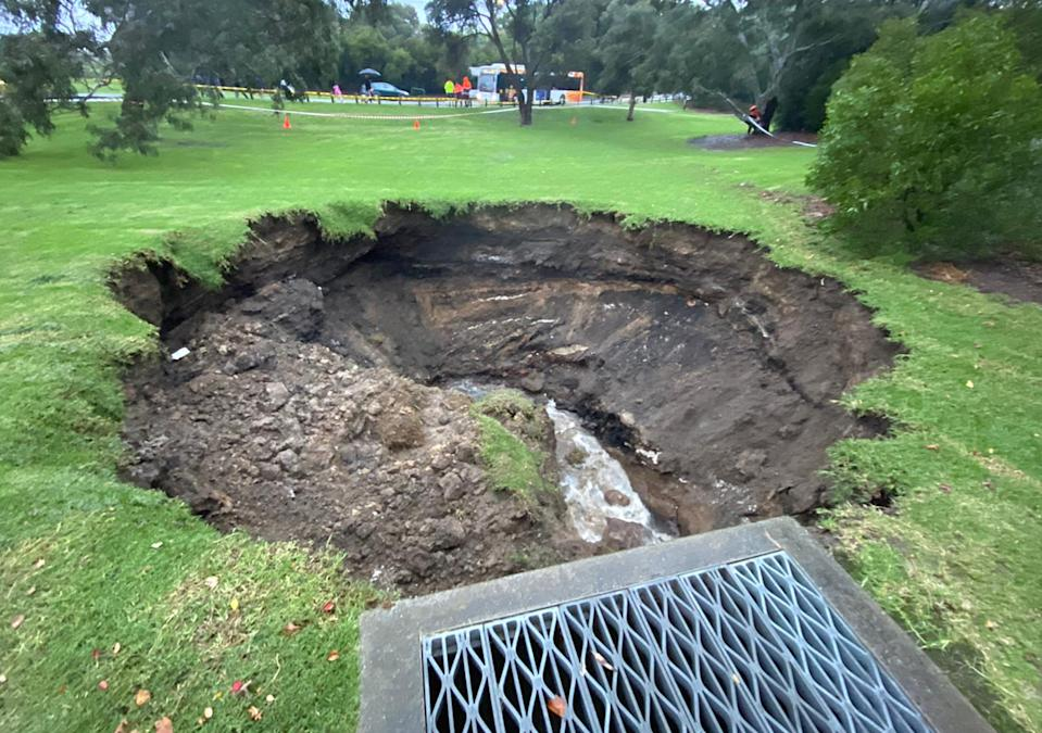 A sinkhole is pictured in Melbourne's suburb of Kew.