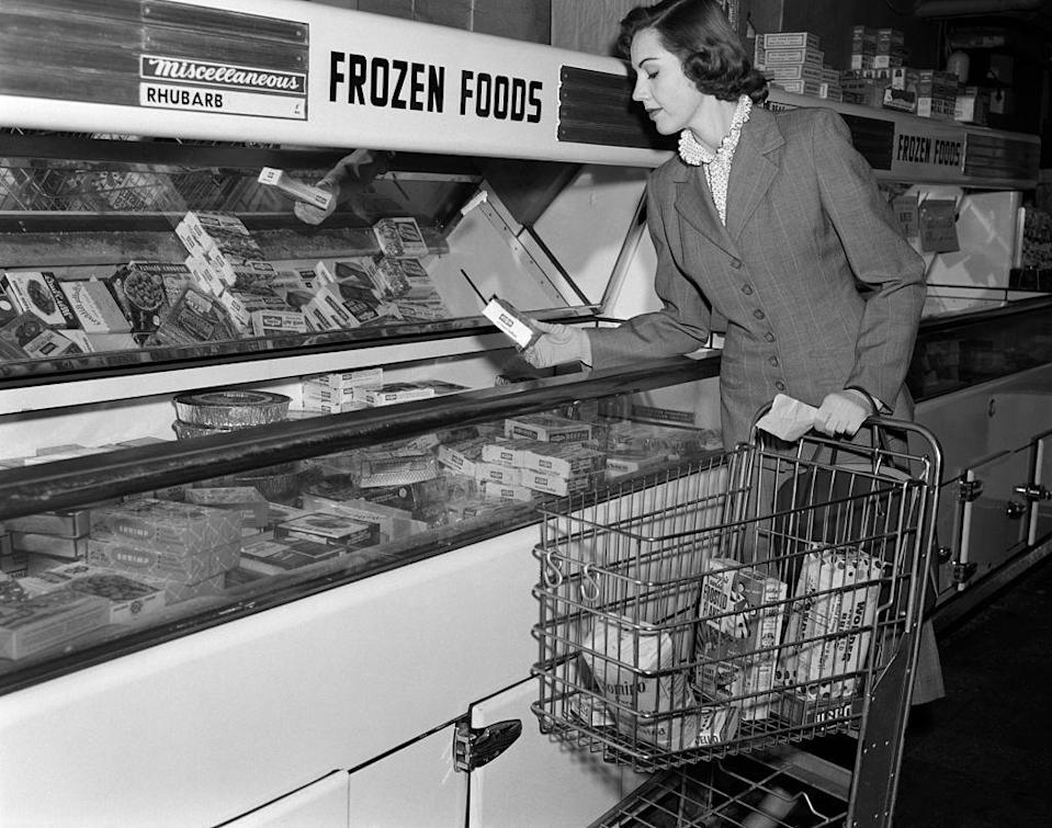 """<p>Although the method for freezing foods was invented in 1924, it didn't become popular until the '50s. By 1954, the <a href=""""https://www.eater.com/2014/8/21/6214423/the-strange-history-of-frozen-food-from-clarence-birdseye-to-the"""" rel=""""nofollow noopener"""" target=""""_blank"""" data-ylk=""""slk:demand for products"""" class=""""link rapid-noclick-resp"""">demand for products</a> like Swanson's TV dinners was so high, more products started filling up the freezer aisle.</p>"""